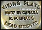 Viking Plate, EP Brass, lead mounts, Made in Canada