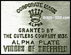 Corporate Mark Granted by the Cutler's Company 1836, Alpha Plate, Viner's of Sheffield England