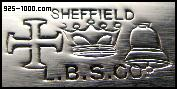LBS, Sheffield, maltese cross, crown, bell