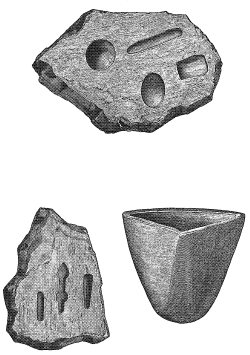 PL. XVIII. CRUCIBLE, AND SANDSTONE MOLDS FOR SHAPING SILVER OBJECTS.